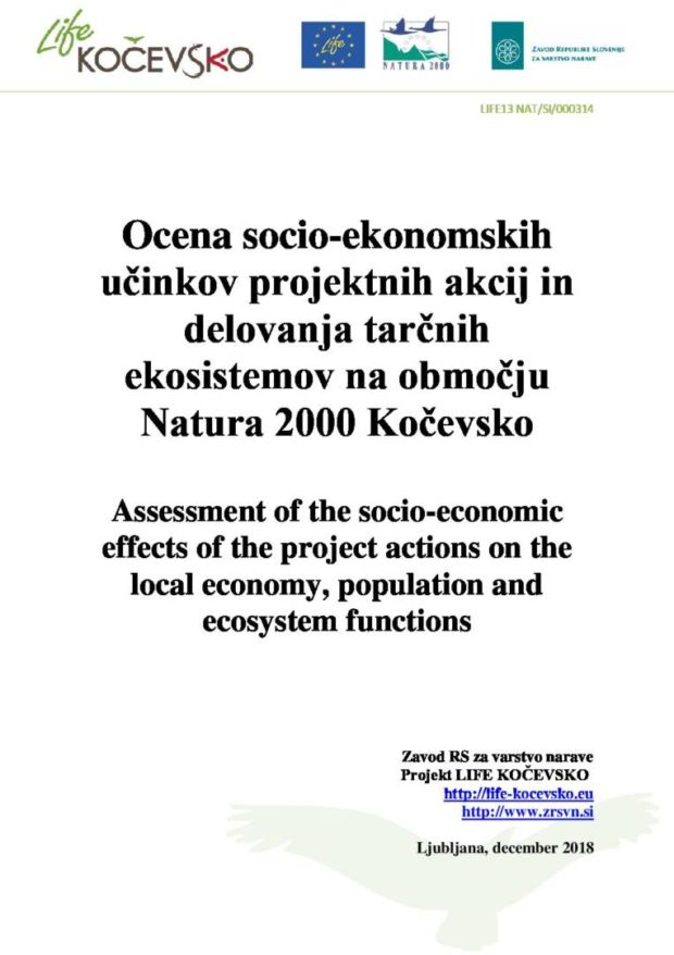 Analysis of the socio-economic effects of the LIFE Kočevsko project