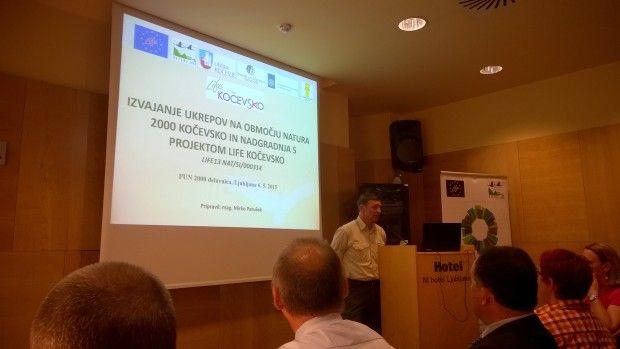 Predstavitev projekta LIFE Kočevsko na delavnici o Programu upravljanja z območji Natura 2000 v Sloveniji 2015-2020.