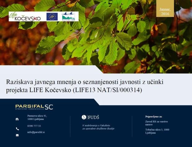 Public awareness survey on the LIFE Kočevsko impacts (LIFE13 NAT/SI/000314)